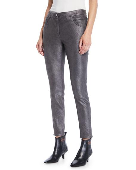 Metallic-Leather Skinny-Leg 5-Pocket Legging