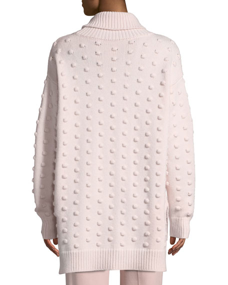 Lela Rose Dotted Turtleneck Wool-Cashmere Pullover Sweater