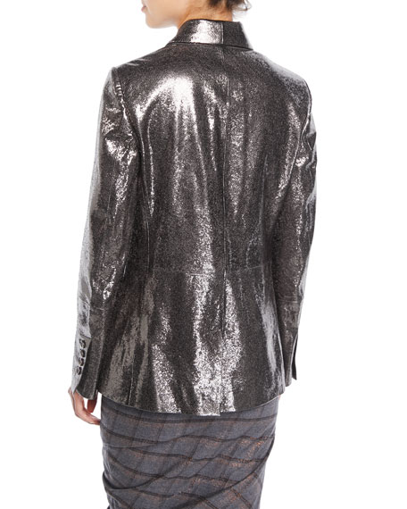 Broken Glass One-Button Metallic Leather Blazer