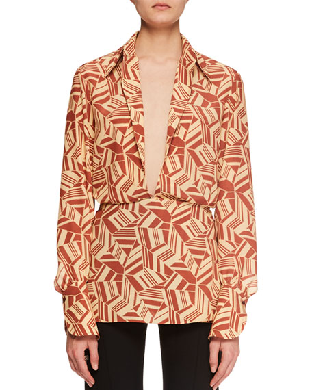 Deep-V Long-Sleeve Geometric-Print Crepe de Chine Blouse