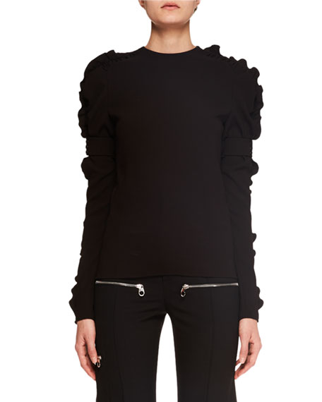 Ruffled Long-Sleeve Crepe Top