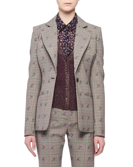Single-Breasted Floral-Embroidered Prince of Wales Check Blazer