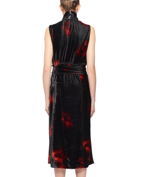 Mock-Neck Sleeveless Floral-Print Velvet Dress