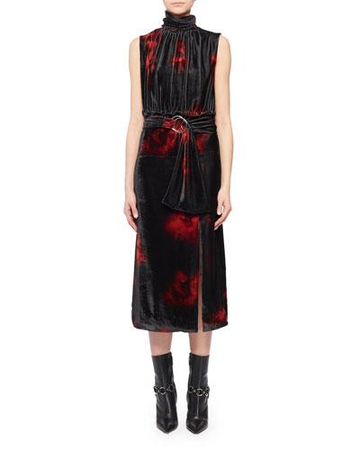 Mock-Neck Sleeveless Floral-Print Velvet Dress
