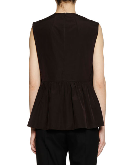 Crewneck Sleeveless Cotton Woven Peplum Tank Top