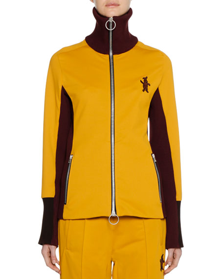Marni Zip-Front Bunny-Logo Techno Jersey Track Jacket and