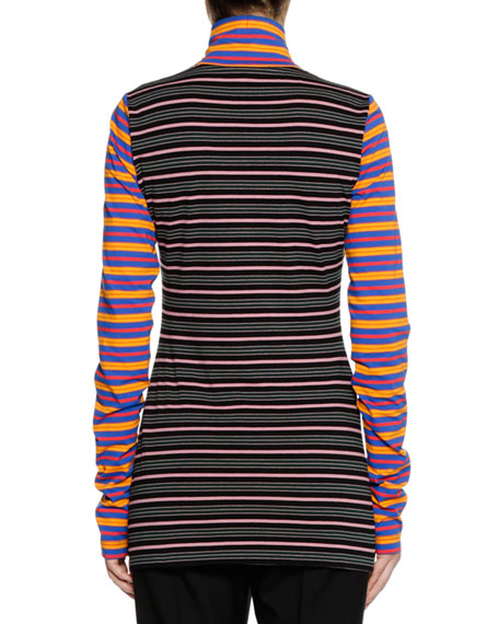 Long-Sleeve Zip-Collar Multi-Stripe Jersey Knit Shirt