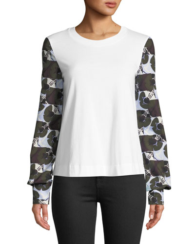 Deco Floral-Print Long-Sleeve Crewneck Cotton Shirt