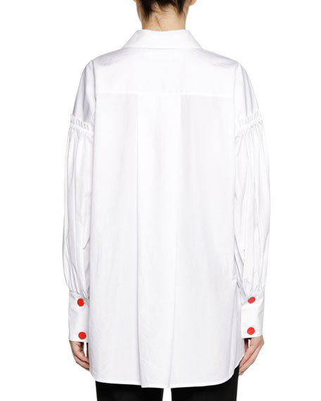 Long-Sleeve Zip-Neck Cotton Woven Shirt