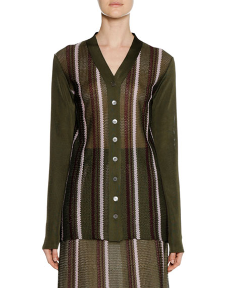 Long-Sleeve Button-Front Striped Open-Weave Knit Cardigan