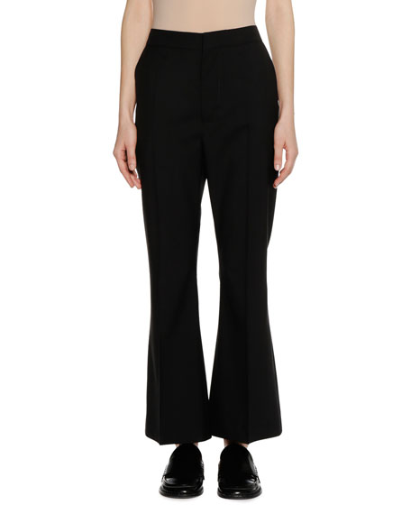 Zip-Front Boot-Cut Virgin Wool Pants