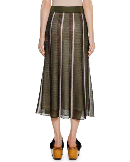 Open-Weave Stripe Knit Ankle-Length Skirt