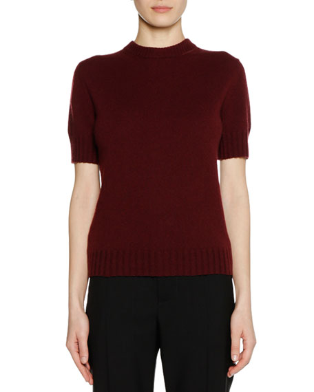 Short-Sleeve Bicolor Cashmere Sweater with Leather Zip Detail