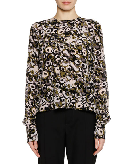Long-Sleeve Marken Abstract-Print Silk Woven Blouse