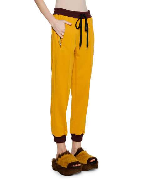Pull-On Drawstring-Waist Bunny-Logo Techno Jersey Track Pants