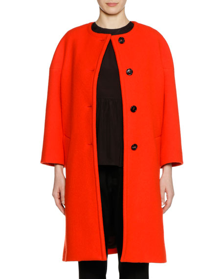 Long-Sleeve Felted Wool Button-Front Knee-Length Coat