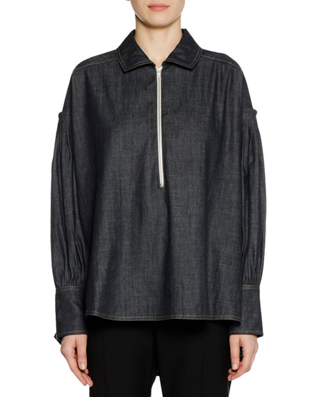Marni Long-Sleeve Zip-Front Denim Twill Chambray Blouse and