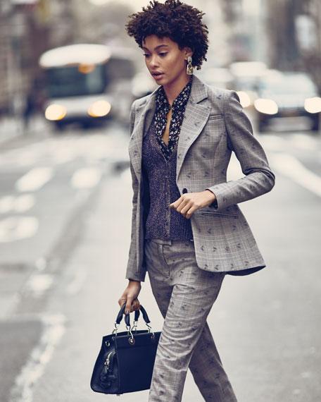 Long-Sleeve Button-Down Floral-Print Georgette Shirt