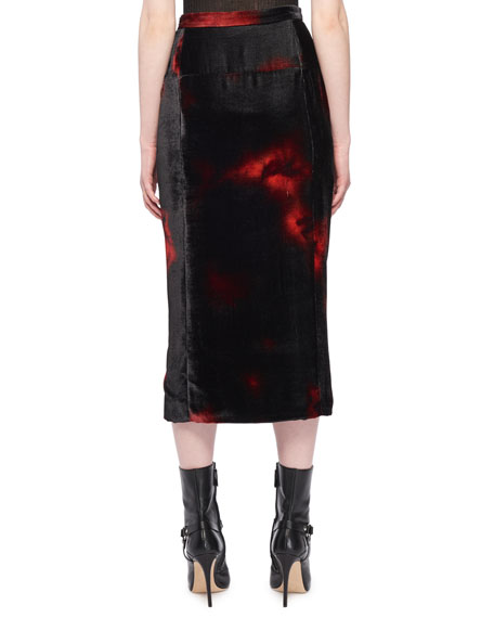 Tie-Dye Floral-Printed Front-Slit Velvet Straight Skirt