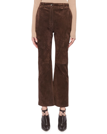 High-Waist Flared-Leg Cropped Suede Pants