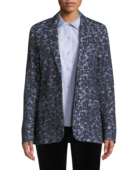 Piazza Sempione Single-Breasted Pinstripe Blazer w/ Lace Overlay