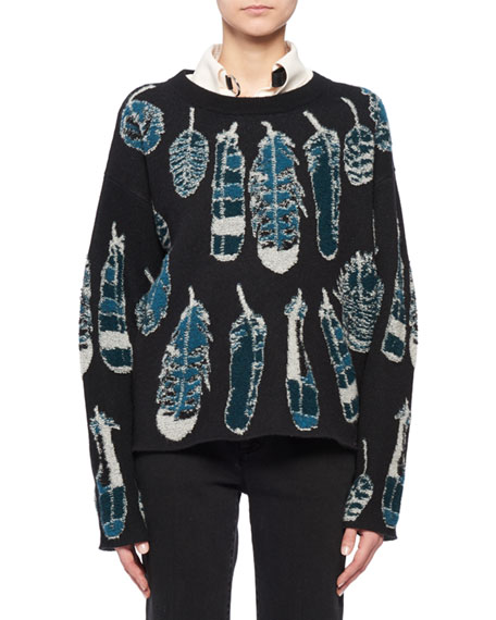 Crewneck Long-Sleeve Feather-Intarsia Cashmere Sweater