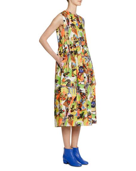Animal Parade Print by Frank Naven A-line Cotton-Poplin Dress