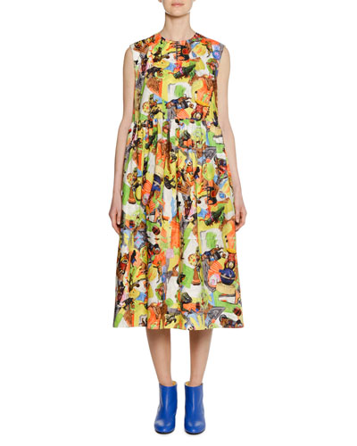 Animal Parade Print by Frank Naven A-line Cotton-Poplin Dress