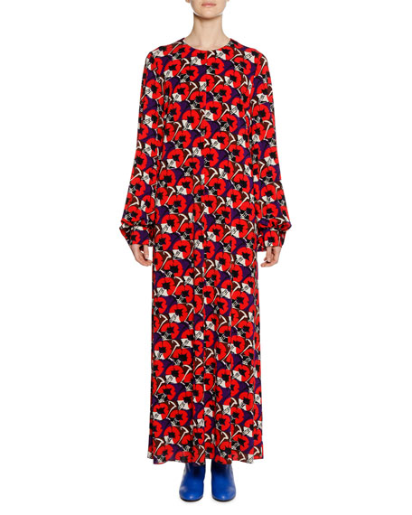 Long-Sleeve Floral-Deco Print Ankle-Length Dress, Red