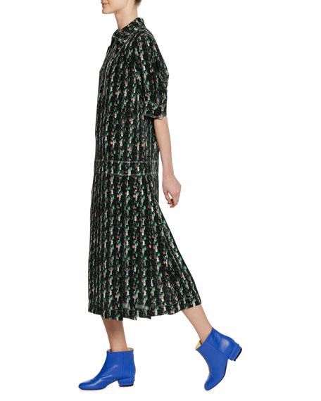 Short-Sleeve Macro Tweed Print Silk Woven Mid-Calf Dress
