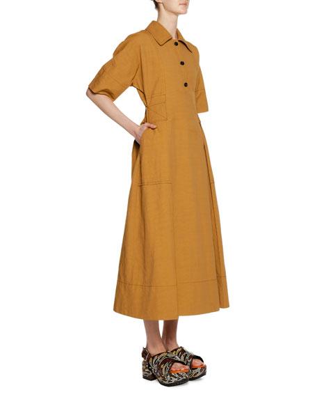Short-Sleeve 3-Button Self-Belt Ankle-Length Cotton-Linen Dress