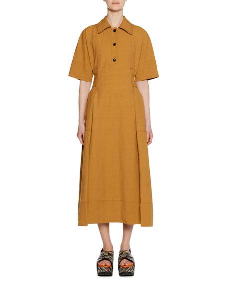 Marni Short-Sleeve 3-Button Self-Belt Ankle-Length Cotton-Linen Dress