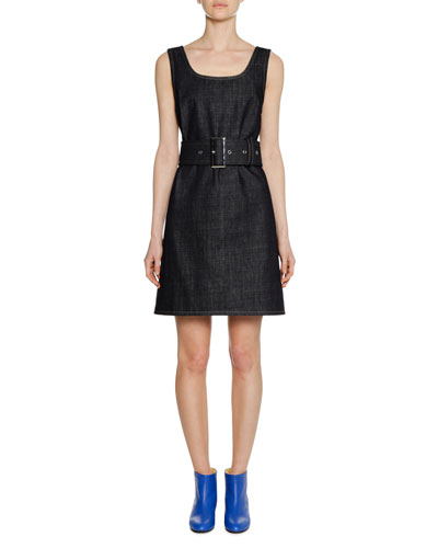 Square-Neck Sleeveless Belted A-Line Denim Dress
