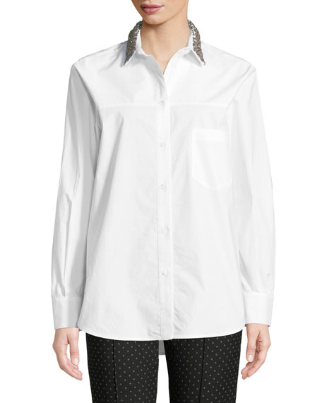 PIAZZA SEMPIONE Animal Metallic Embroidered Button-Front Cotton Shirt in White