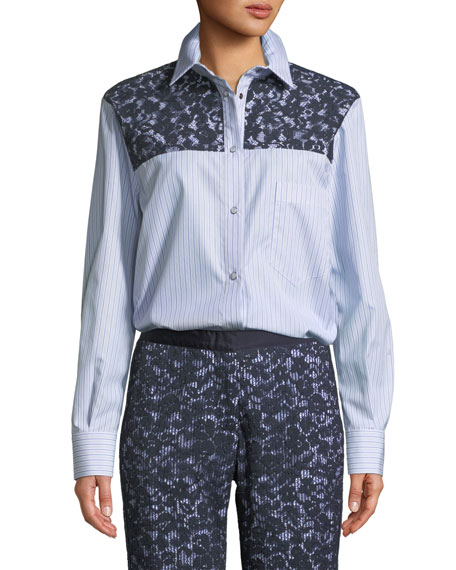 Button-Front Long-Sleeve Striped Shirt w/ Lace Western Yoke