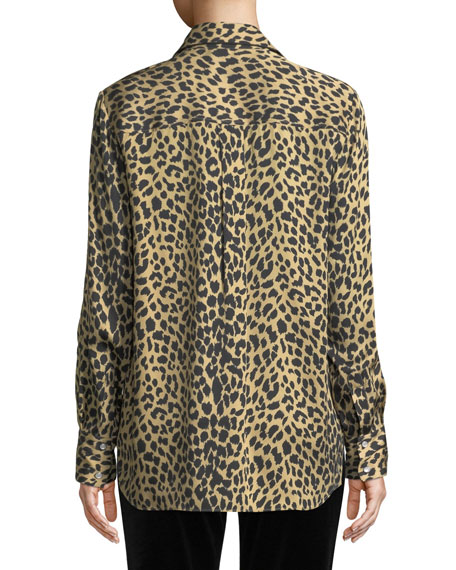 Long-Sleeve Button-Front Leopard Animal-Print Silk Shirt