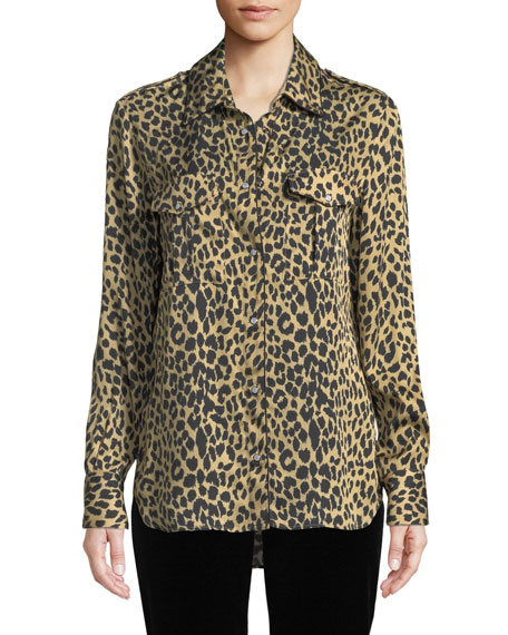 Piazza Sempione Long-Sleeve Button-Front Animal-Print Silk Shirt