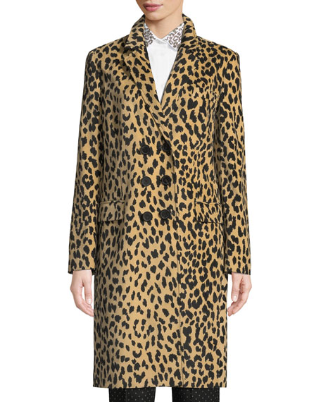 PIAZZA SEMPIONE Double-Breasted Animal-Print Velveteen Topper Coat in Beige