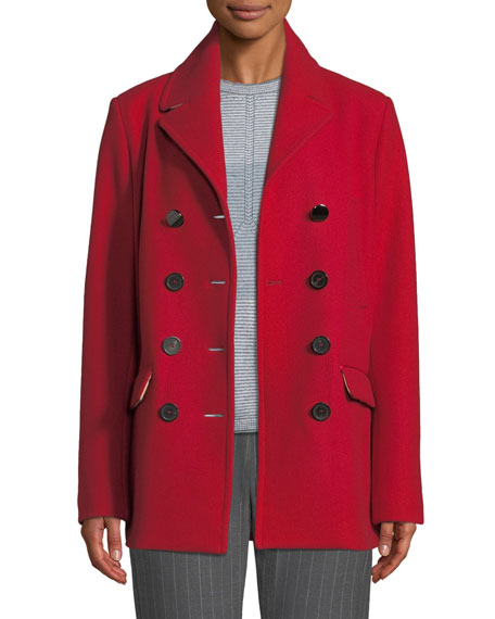 Double-Breasted Wool Melton Pea Coat
