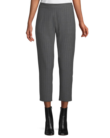 PIAZZA SEMPIONE Elastic-Back Pinstripe Wool Trousers in Gray