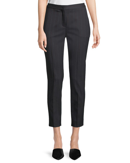 Laura Straight-Leg Cropped Pinstripe Pants