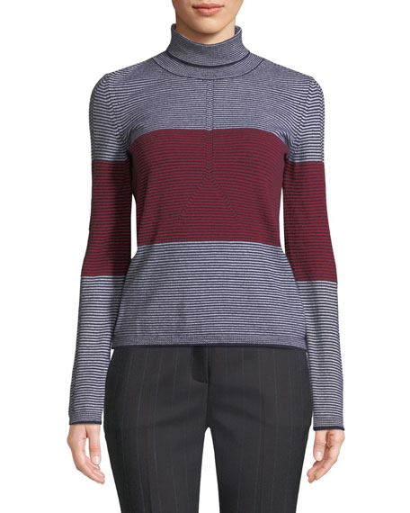 Colorblocked Striped Turtleneck Sweater