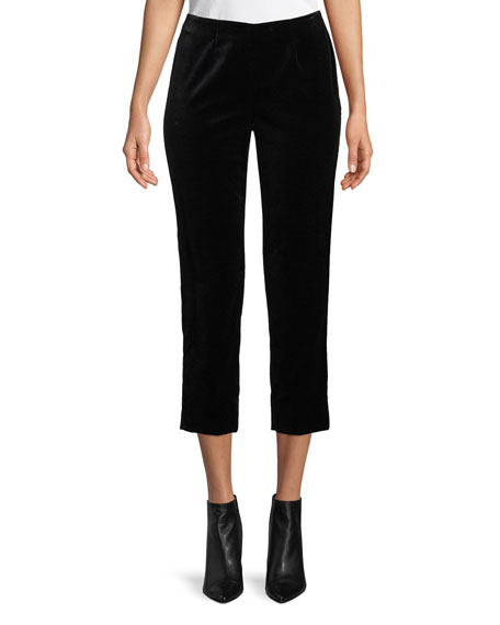 Audrey Side-Zip Straight-Leg Velvet Cropped Pants