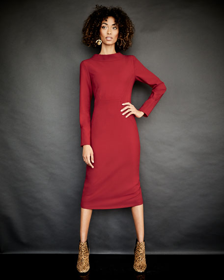 Audrey Mock-Neck Long-Sleeve Fitted Dress