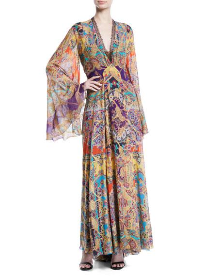 V-Neck Flutter-Sleeve Banded Printed Silk Georgette Gown
