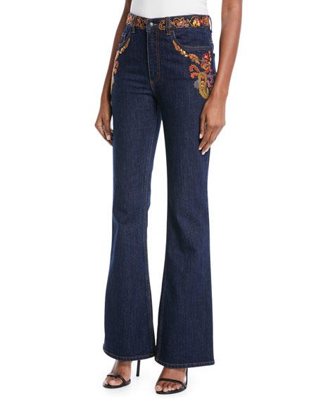 High-Rise Embroidered Flare-Leg Jeans