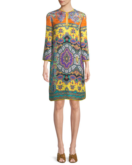 Split-Neck Long-Sleeve Paisley Cloque Harlem-Print Tunic Dress