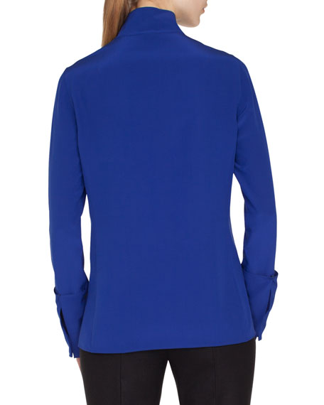 Mock-Neck Button-Front Silk Blouse