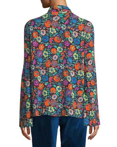 Tie-Neck Long-Sleeve Multicolor Floral-Print Blouse