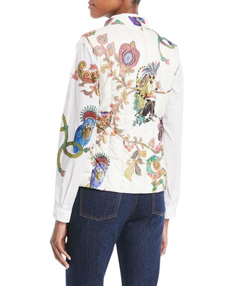 Zip-Front Lemur-Print Down Puffer Vest